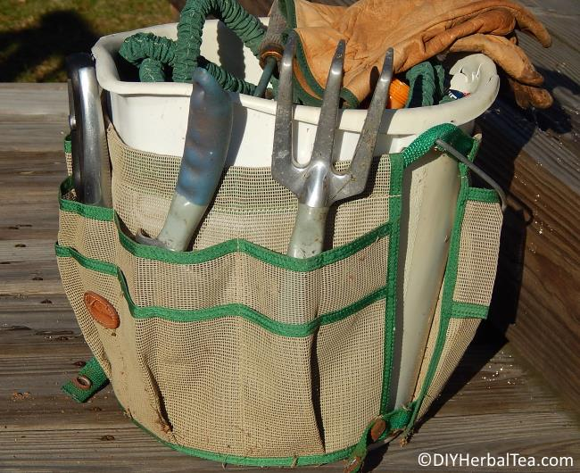 My bucket garden caddy with gardening tools